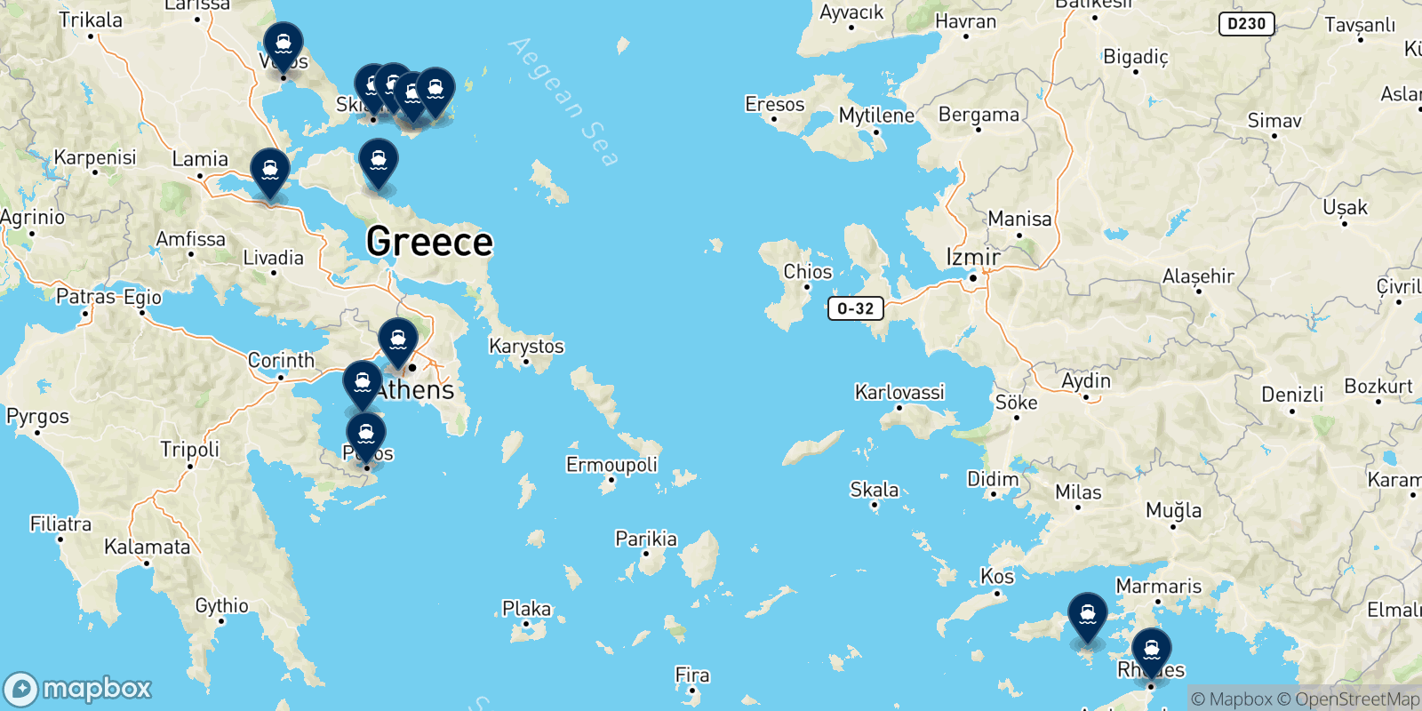 Anes Ferries destination map